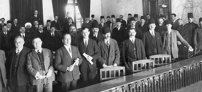 Members of the 1926 Chamber of Deputies and colleagues of Michel Chiha (Chible Dammous archives)